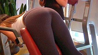 Well shaped sporty latina workout... ass naked
