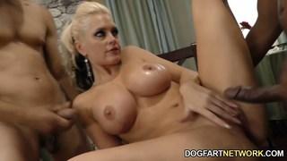Busty blonde Alena pounded by multiple black cocks