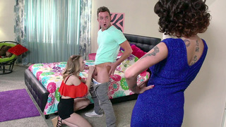 Joslyn James caught her stepdaughter Lucy Tyler giving a sloppy blowjob