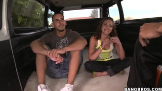 Youthful Jessica riding in bang bus with latinos