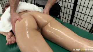 Alyssa Branch becomes extremely excited at her first professional massage
