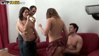 Tiny chicks love to take part in hot college orgies
