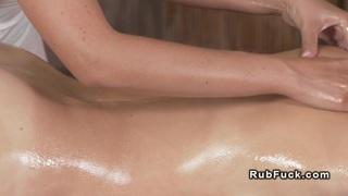 Tight brunette babe gets massage