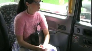Babe in glasses fucked by fraud driver