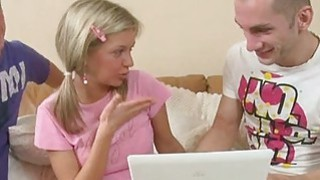 Youthful darling is seduced to have threesome