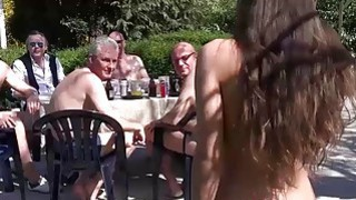 Anita Bellini gang banged by 8 old horny cocks
