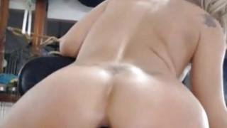 Awesome blonde anal black dildo riding on webcam