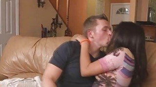 Stephanie sucks his bf's dick when her step mom joined them