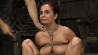 Tied up girl acquires tongue and facial torture