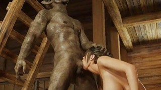 3D Scary Orcs Cum On Busty Babe!
