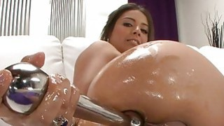 Babe bows over for studs rough anal hammering