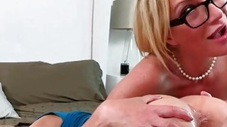 Nasty cheerleader in threesome milf action