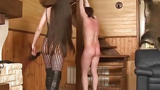 Russian Dominatrix Whipping Her Sub
