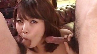 Small tits Yura Kurokawa pleases two fat dicks