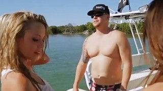 Sexy badass babes jetskiing and spear fishing in nude