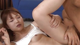Slutty asian with shaggy cunt gets 2 cocks to fuck