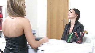 Brunette female agent is aroused by her new sexy client