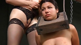 Gagged beauty gets violent whipping on her titties