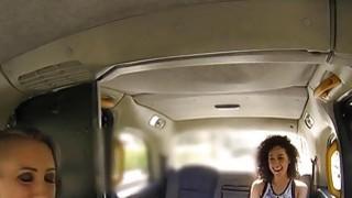 Brit lesbian fake taxi driver in oral sex