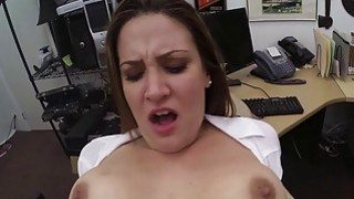 Foxy business lady pounded by pawn guy