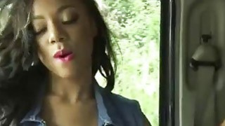Hot amateur ebony Diamond Monroe pussy pounded in public