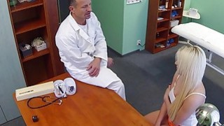 Blonde with problem in sex fucks doctor