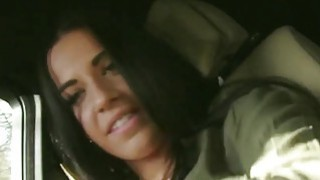Teen hitchhiker showing ass to stranger in his car