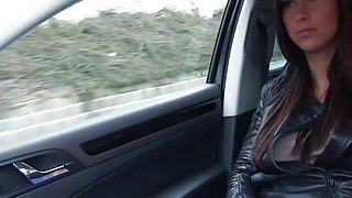 Stranded babe Victoria fucks in the backseat for a ride