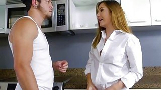 Teen babe Aria gets fucked by her house mate in the kitchen