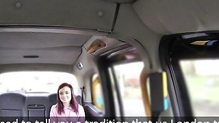 Foreign redhead bangs in British fake taxi