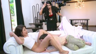 Romi Rain plays with her pussy while watching Adria Rae getting licked