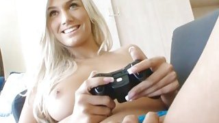 Gamer girlfriend is a hot teen fucking on the couch