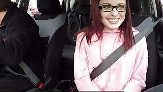 Nice ass redhead rides fake instructor in car