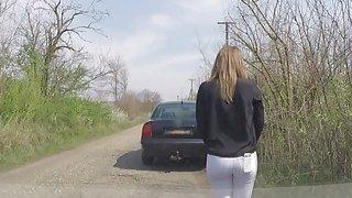 Big ass brunette rides fake cop in car