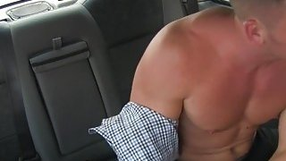 Tight bodied taxi driver bangs client