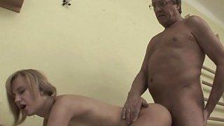 Short Haired Blonde Stepdaughter Fucked Stockings