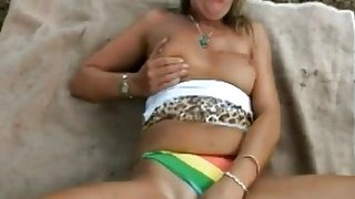 Extraordinary mature bitch is enjoying a long meat in the woods
