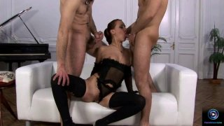 Hot threesome with two hard dicks
