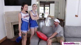 Three slut cheerdancers fuck their coach
