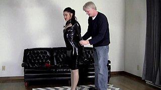 Latex bondage video with a brunette