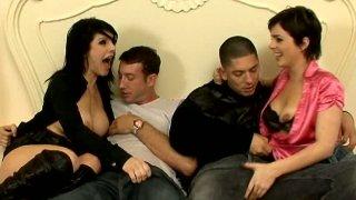 Brunette sluts Daisy Rock & Isabel Ice blow two cocks