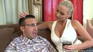 Hot blondie Phoenix Marie pleases modest nerd's cock