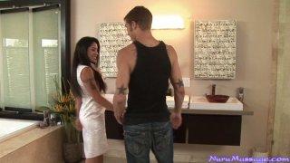 Magnificent Jeneveve Jolie gives the best Nuru massage