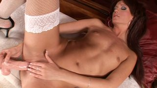 Flexible plastic dildo disappears in Zadie's delicious pussy