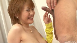 Light haired hoochie Kaoru Amamiya gags while giving blowjob