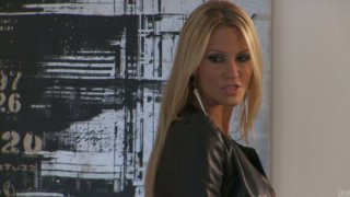 Filthy blonde hooker Jessica Drake getting her both holes used