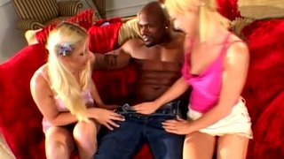 Young dumb blondes Michelle Sweet and Kinzie Jo cuddle with big dude