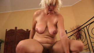 Chubby blonde milf Kata rides hard cock of young man Steve Q