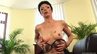Very ugly brunette MILF Jane Black shows her tight hungry pussy