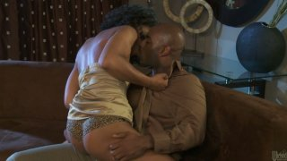 Hot and horny ebony babe Misty Stone opens her legs for cunnilingus